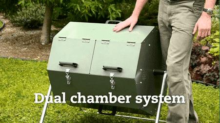 The Jora dual chamber composting tumbler