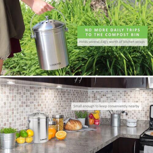LINKYO compost bin in the kitchen